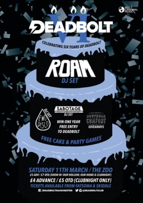 Deadbolt 6th Birthday Club with Roam, Sabotage Dublin, Emo Disco and Southern Comfort - Red Cardinal Music