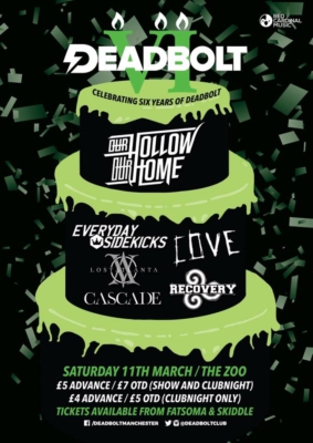 Deadbolt 6th Birthday Gig Our Hollow Our Home Everyday Sidekicks Cove Lost Atlanta Cascade UK Recovery - Red Cardinal Music