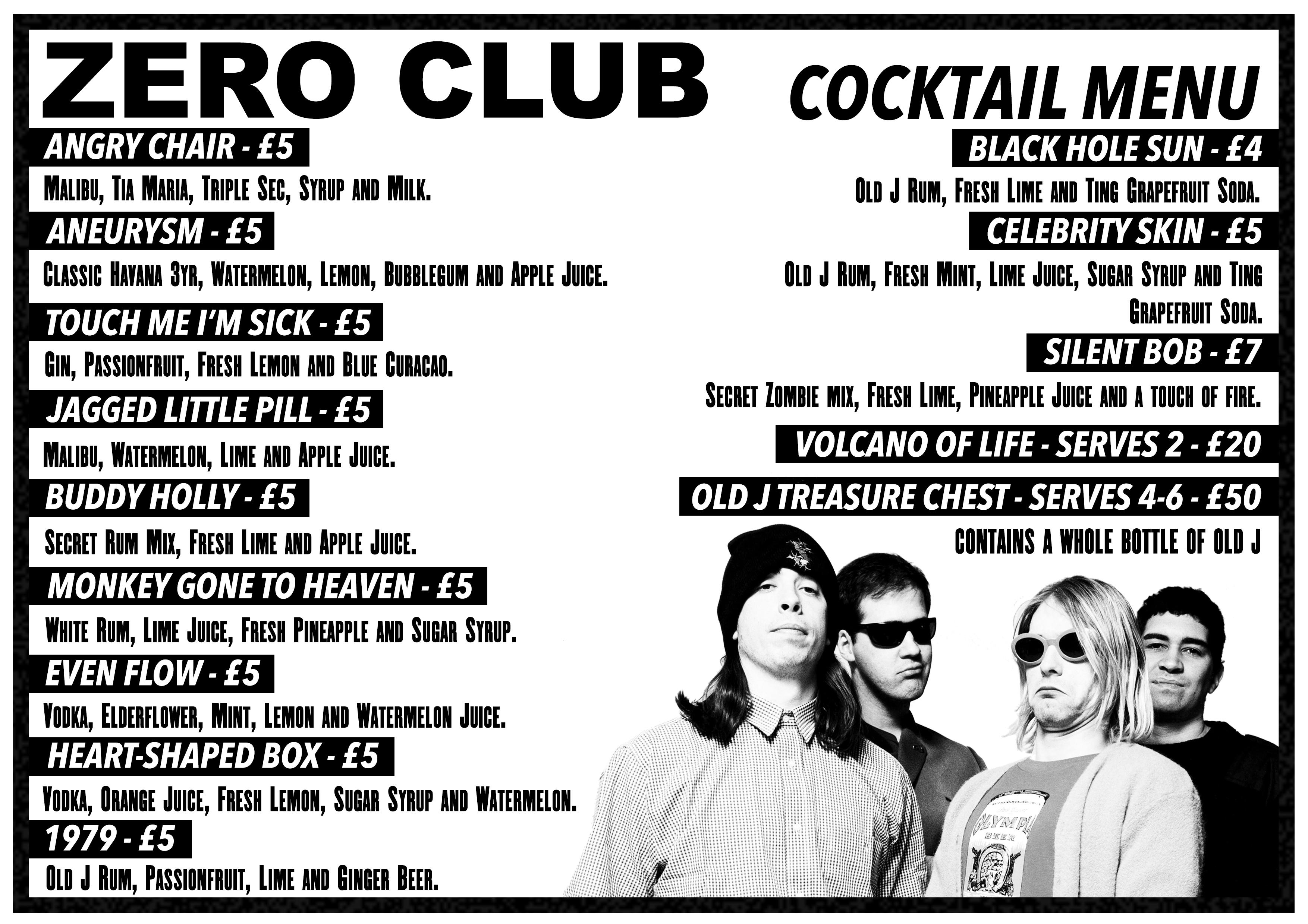 Zero Club Cocktail Menu at Zombie Shack - Red Cardinal Music
