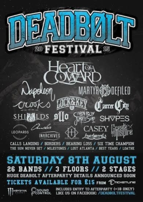 DBF2 Deadbolt Festival 2015 with Heart of a Coward, Nappoleon, Martyr Defiled, SHVPES, Lock and Key and more - Red Cardinal Music