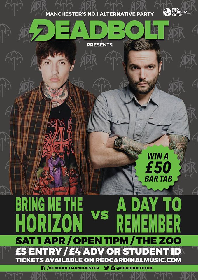 Deadbolt Bring Me The Horizon A Day To Remember Manchester