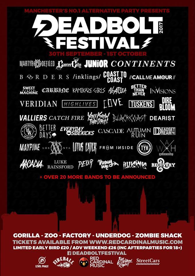 Deadbolt Festival announces second wave of bands - Red Cardinal Music - Manchester