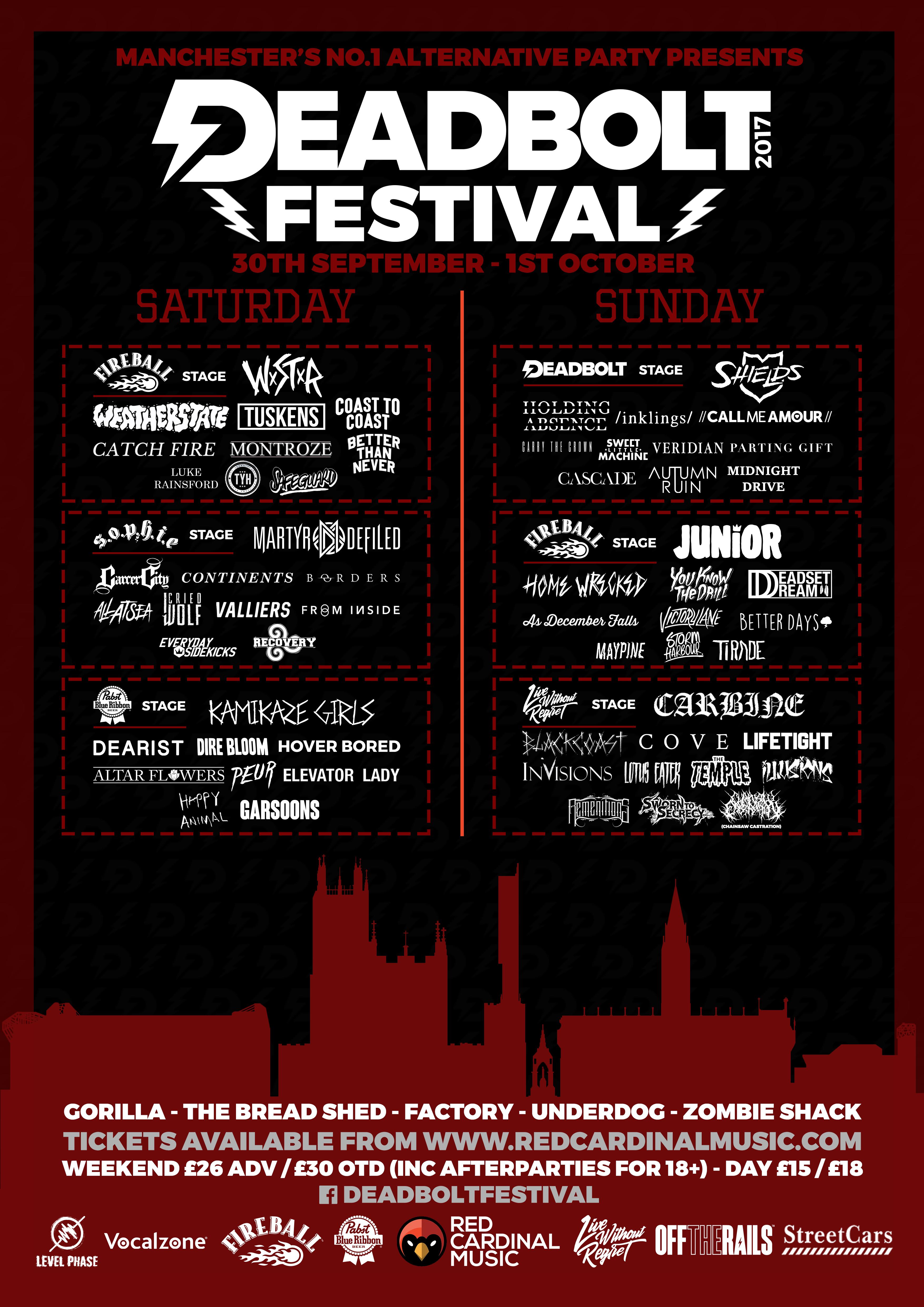 Deadbolt Festival 2017 Poster Stage Splits - Manchester - Red Cardinal Music