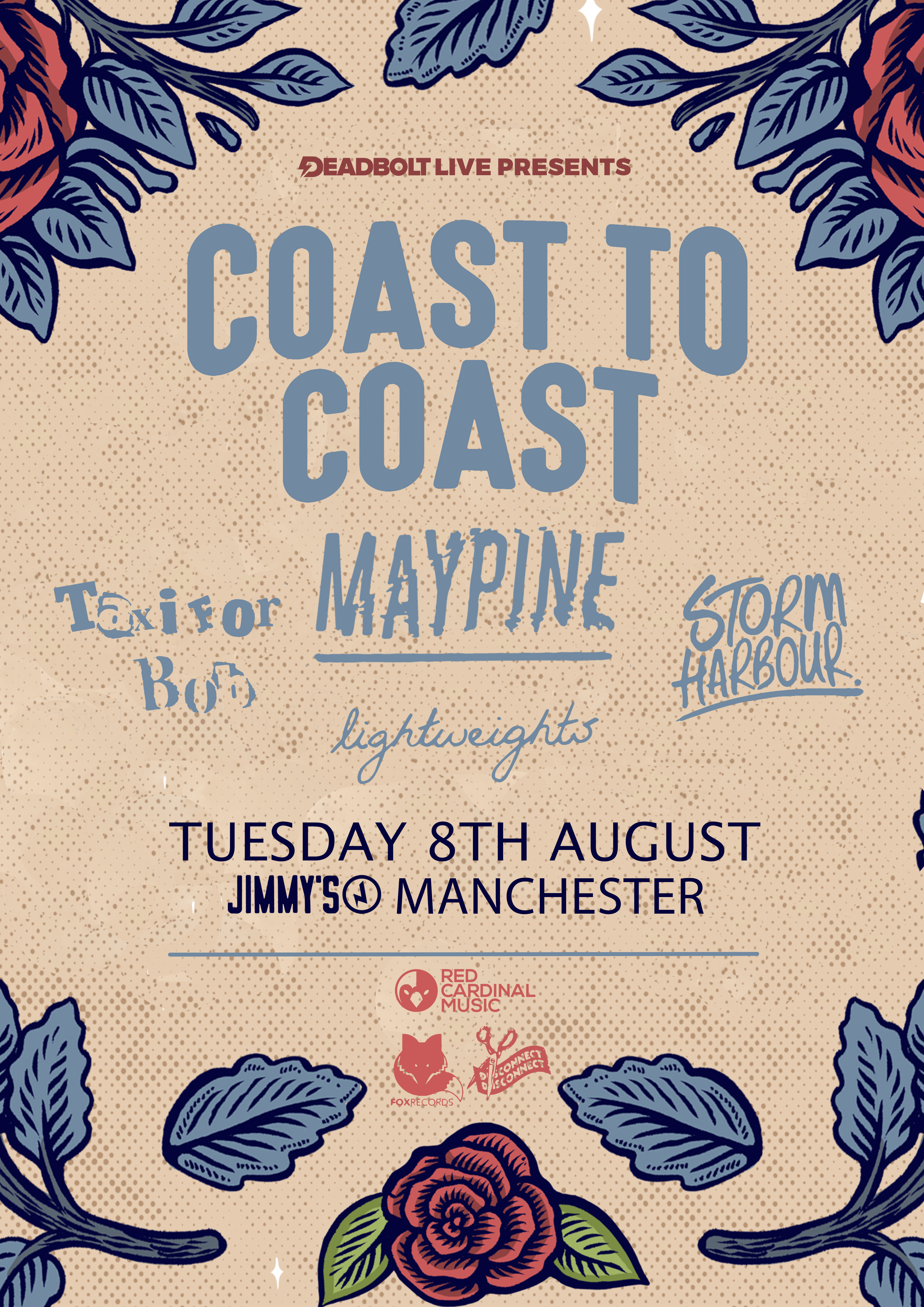 Deadbolt Live: Coast to Coast, Maypine, Taxi For Bob, Storm Harbour, Lightweights - UK Pop Punk - Jimmy's Manchester - Red Cardinal Music