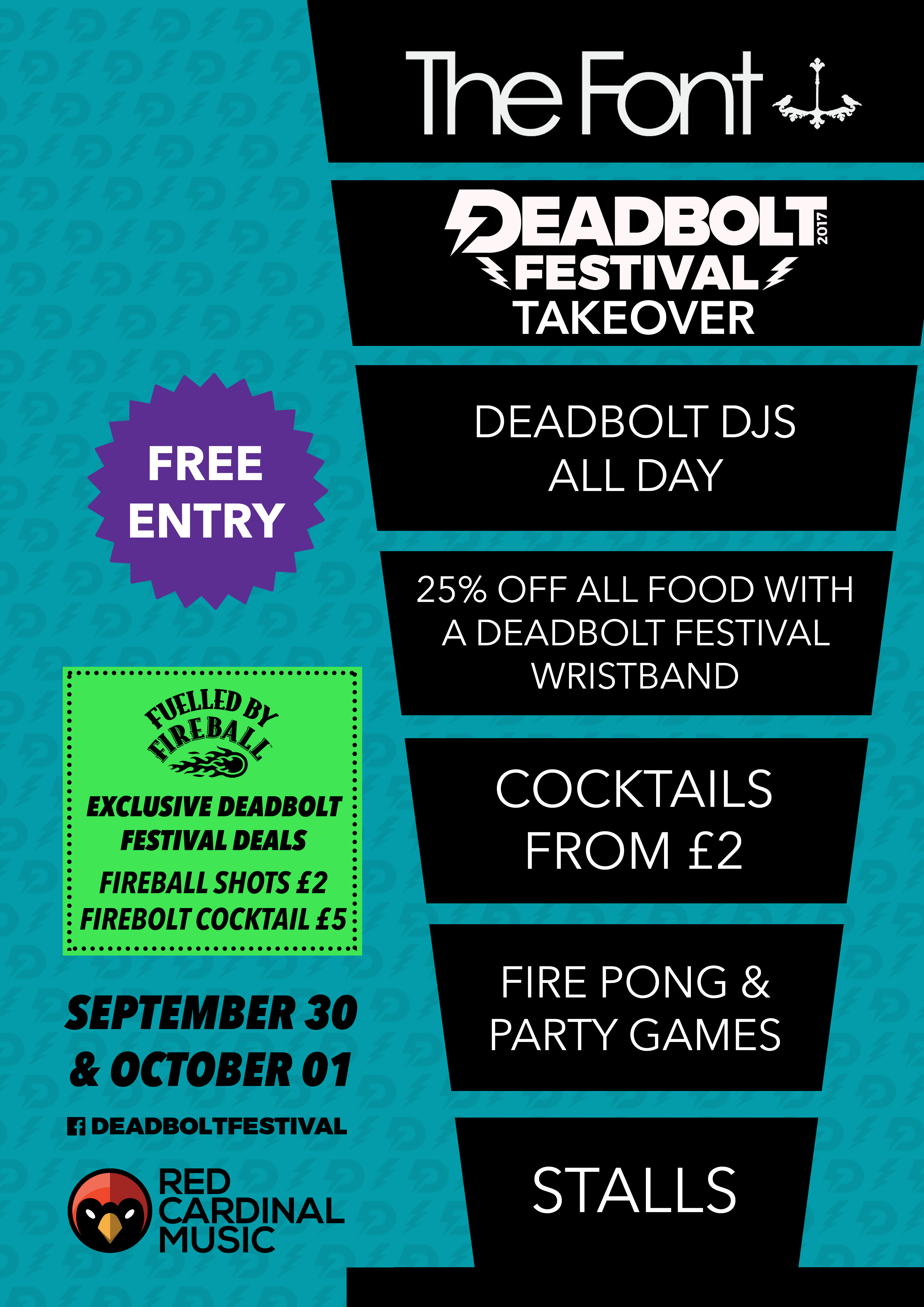 Deadbolt Festival Font Manchester Takeover with Fireball - Red Cardinal Music