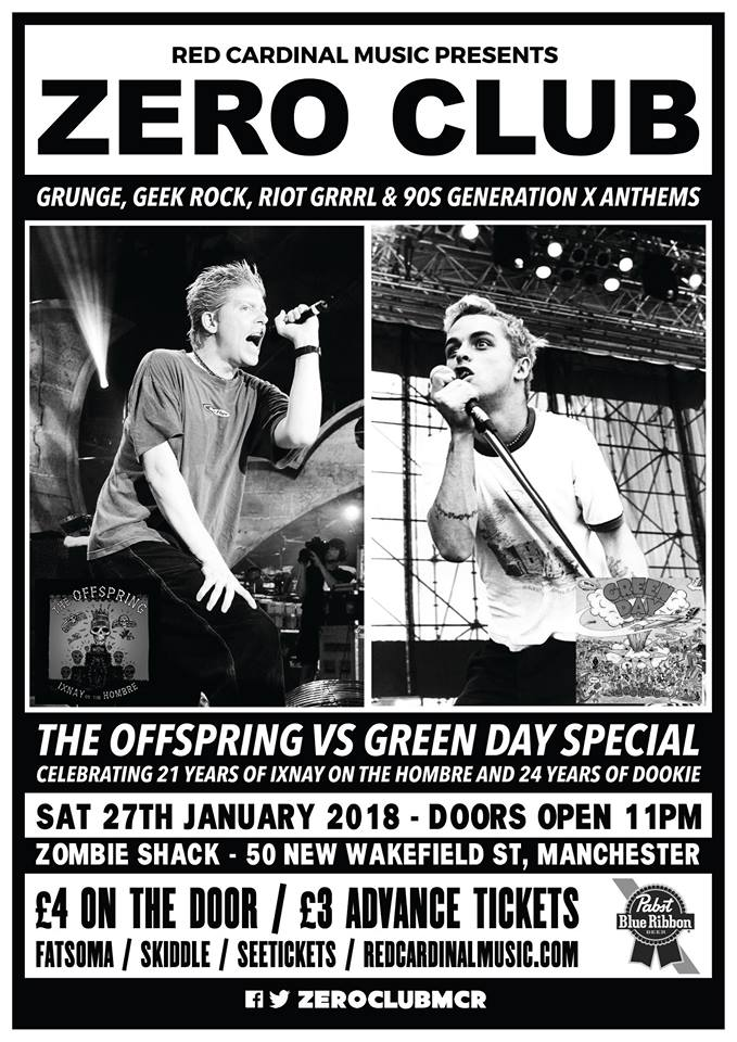 Zero Club Offspring vs Green Day Special - Red Cardinal Music - 90s grunge alternative club - Zombie Shack - Pabst Blue Ribbon