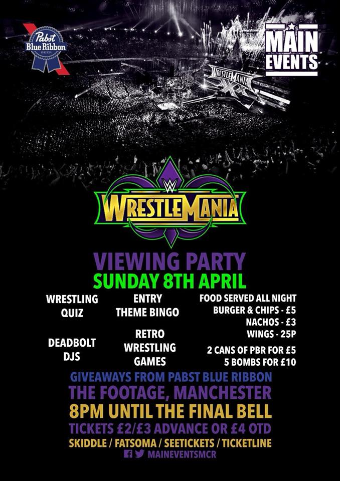 Main Events WWE Wrestlemania Viewing Party Footage Manchester - Red Cardinal Music - Wrestling