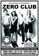 Zero Club Poster RHCP Sep18 - Red Cardinal Music - Zombie Shack - Pabst Blue Ribbon