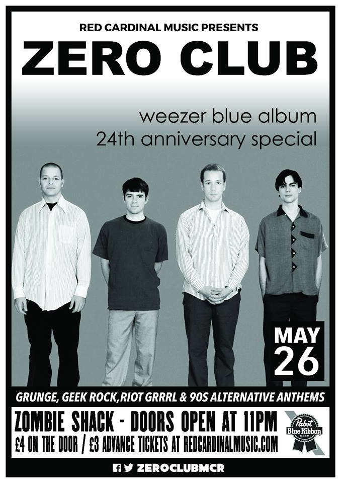 Zero Club Poster Weezer Blue Album Anniversary Special May18 - Red Cardinal Music - Zombie Shack - Pabst Blue Ribbon