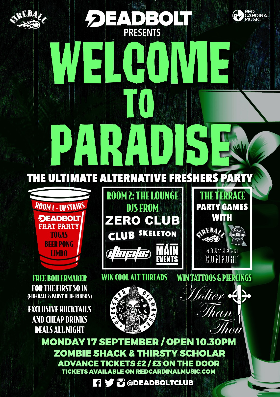 Welcome To Paradise - Alternative Freshers Manchester Poster - Red Cardinal Music - Metal, Rock, Pop Punk - Holier Than Thou Tattoos, Fireball, Pabst Blue Ribbon, Southern Comfort, Daggers and Diamonds