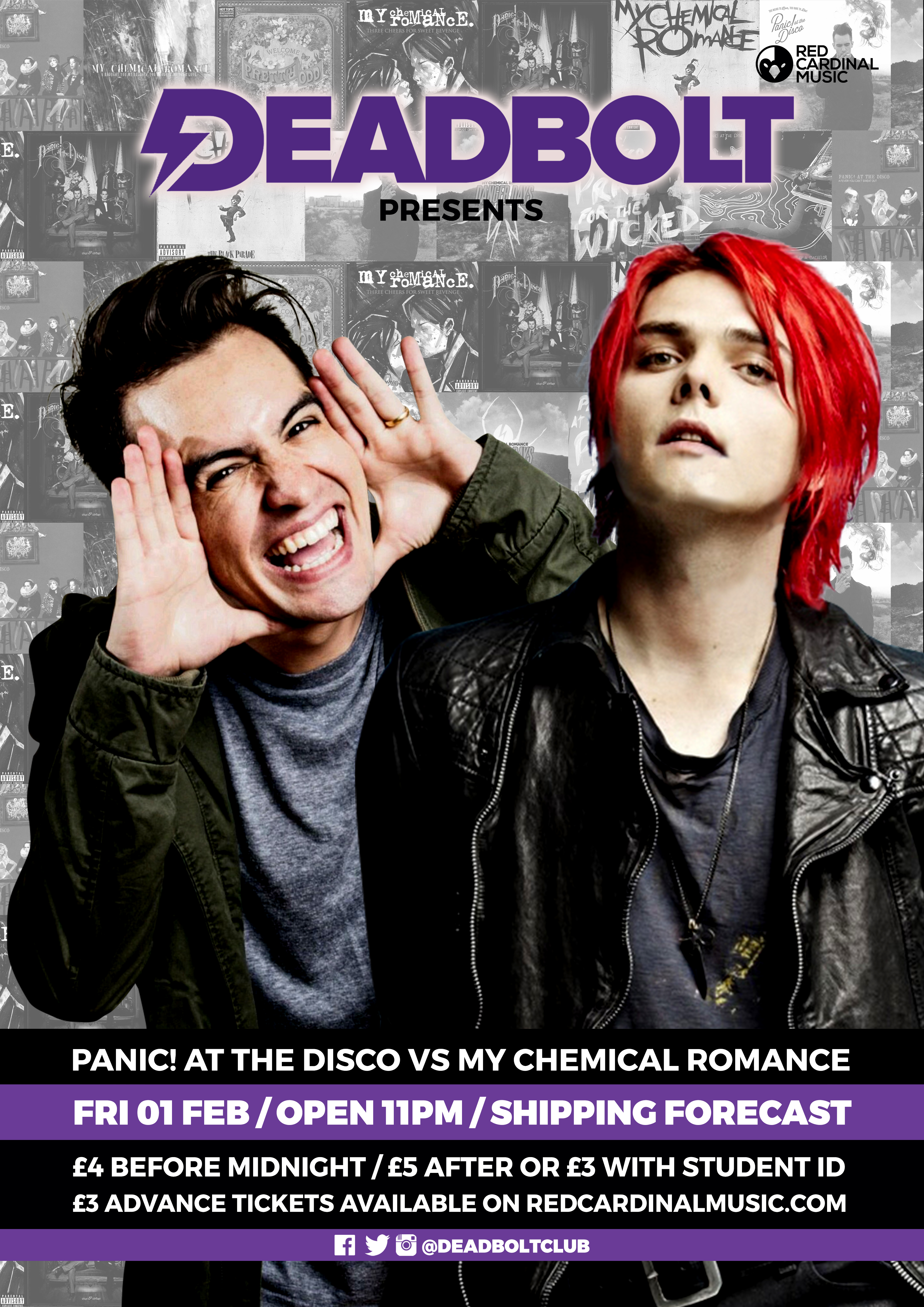 Deadbolt - Panic! At The Disco vs My Chemical Romance Special - Alternative Club Liverpool - Red Cardinal Music