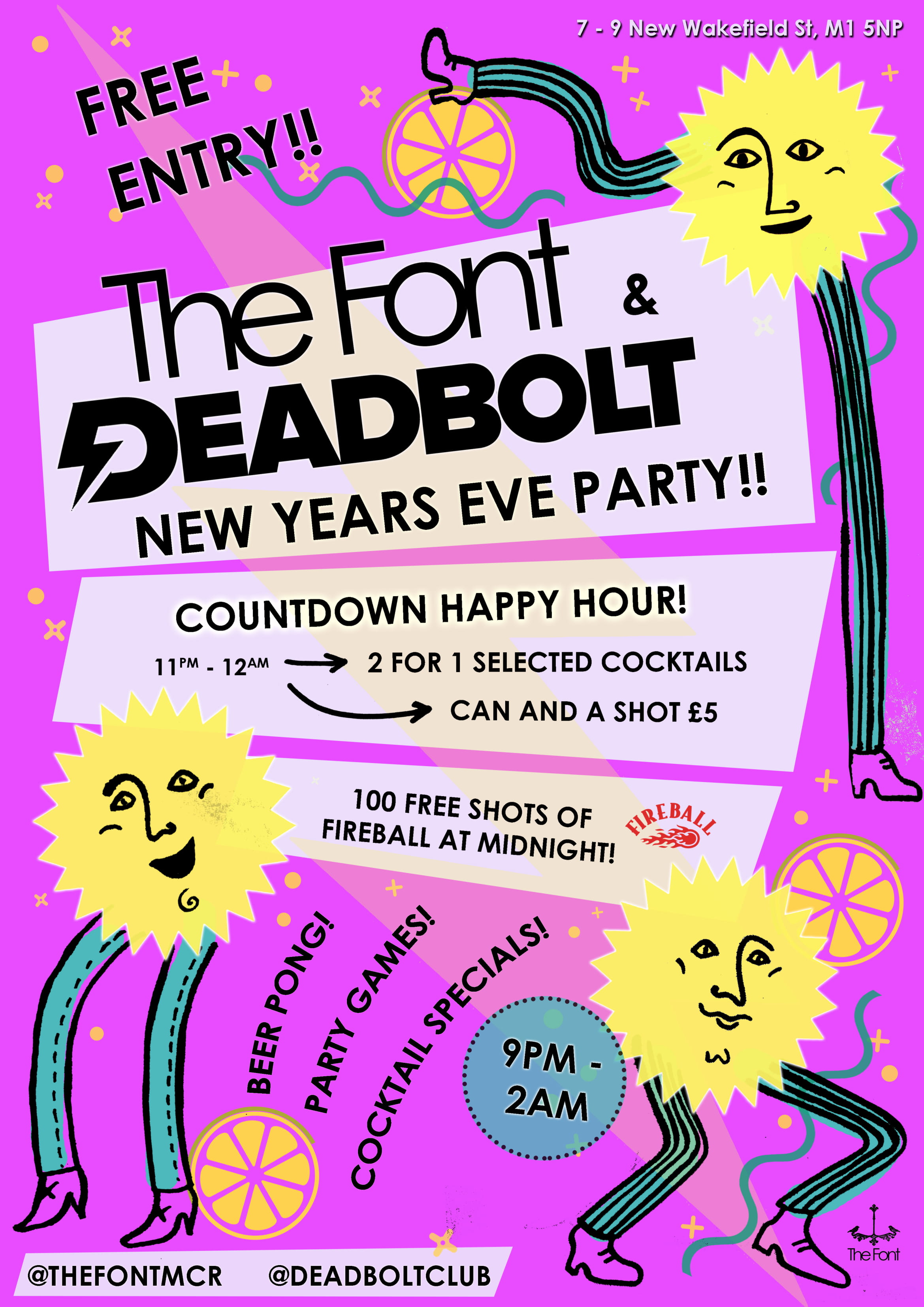 Deadbolt x Font Manchester - New Years Eve - Red Cardinal Music