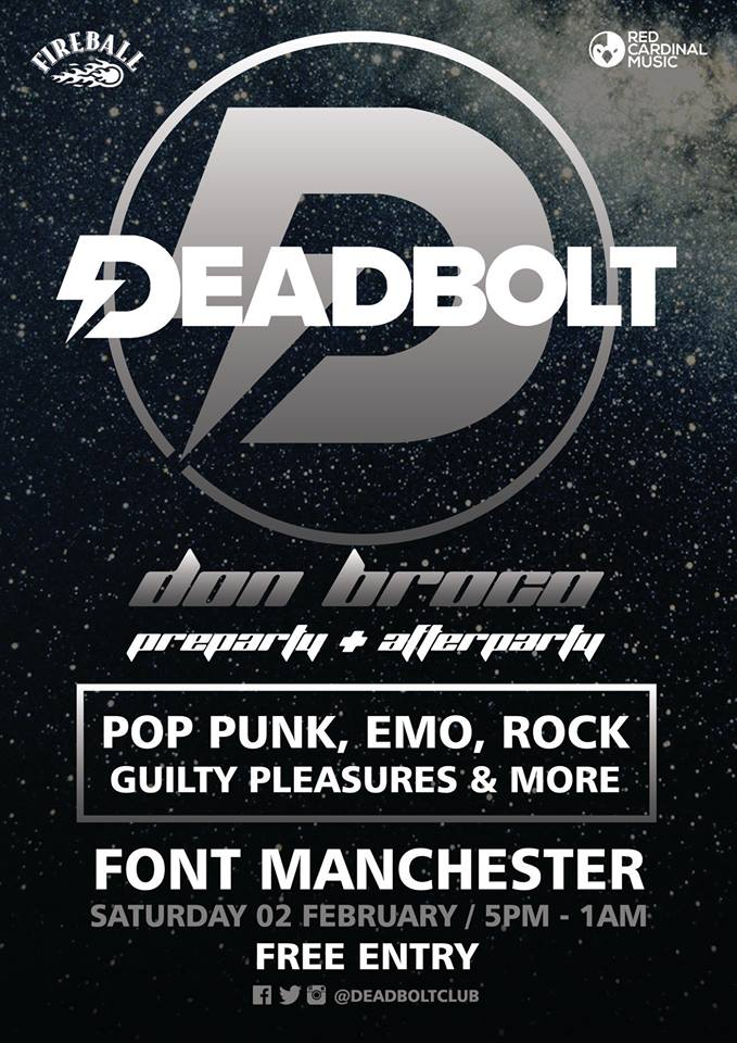Deadbolt Font Takeover - Don Broco Party Poster - Feb 19 - Red Cardinal Music