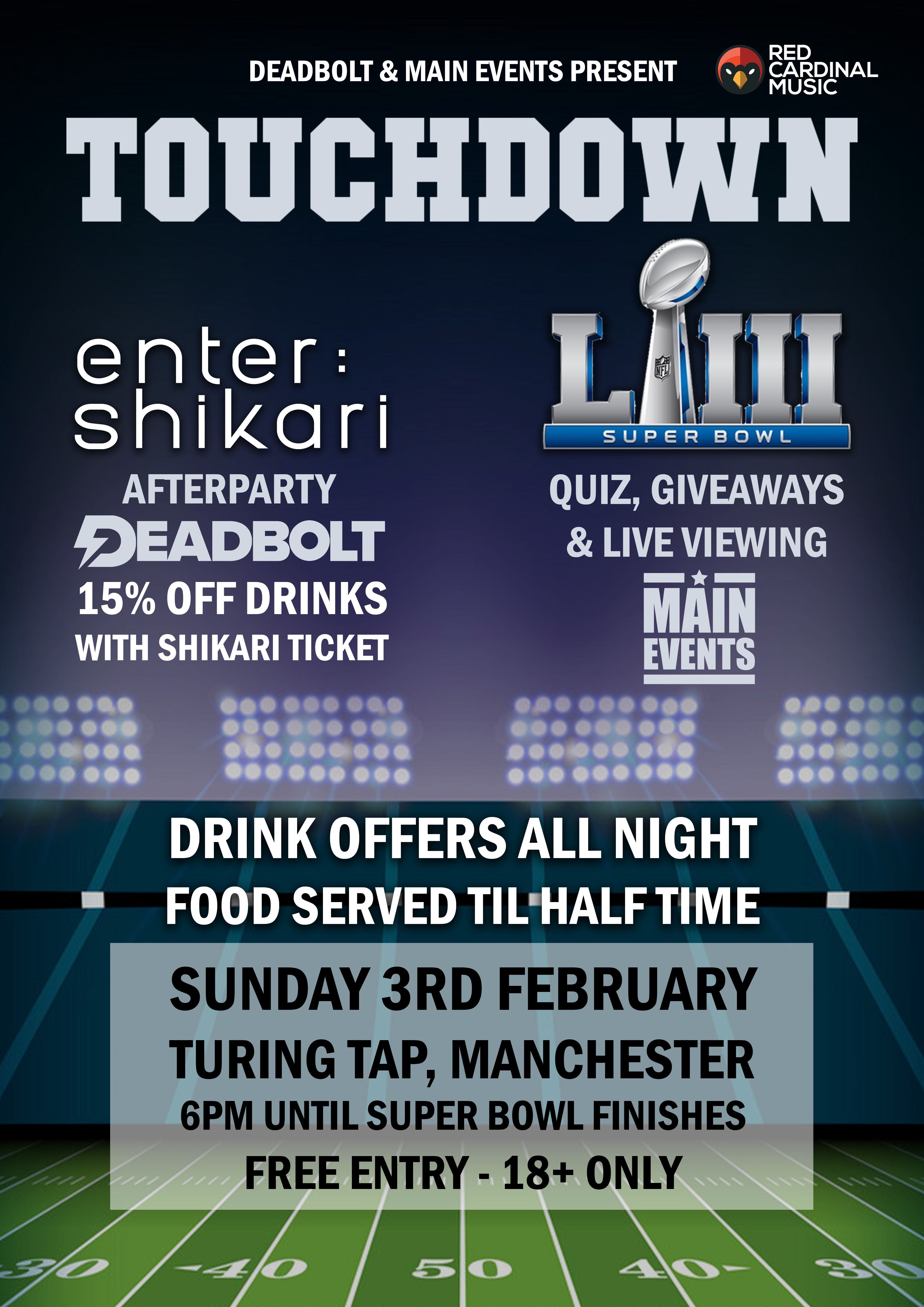 Deadbolt & Main Events - Enter Shikari & Superbowl 2019 - Turing Tap - Red Cardinal Music