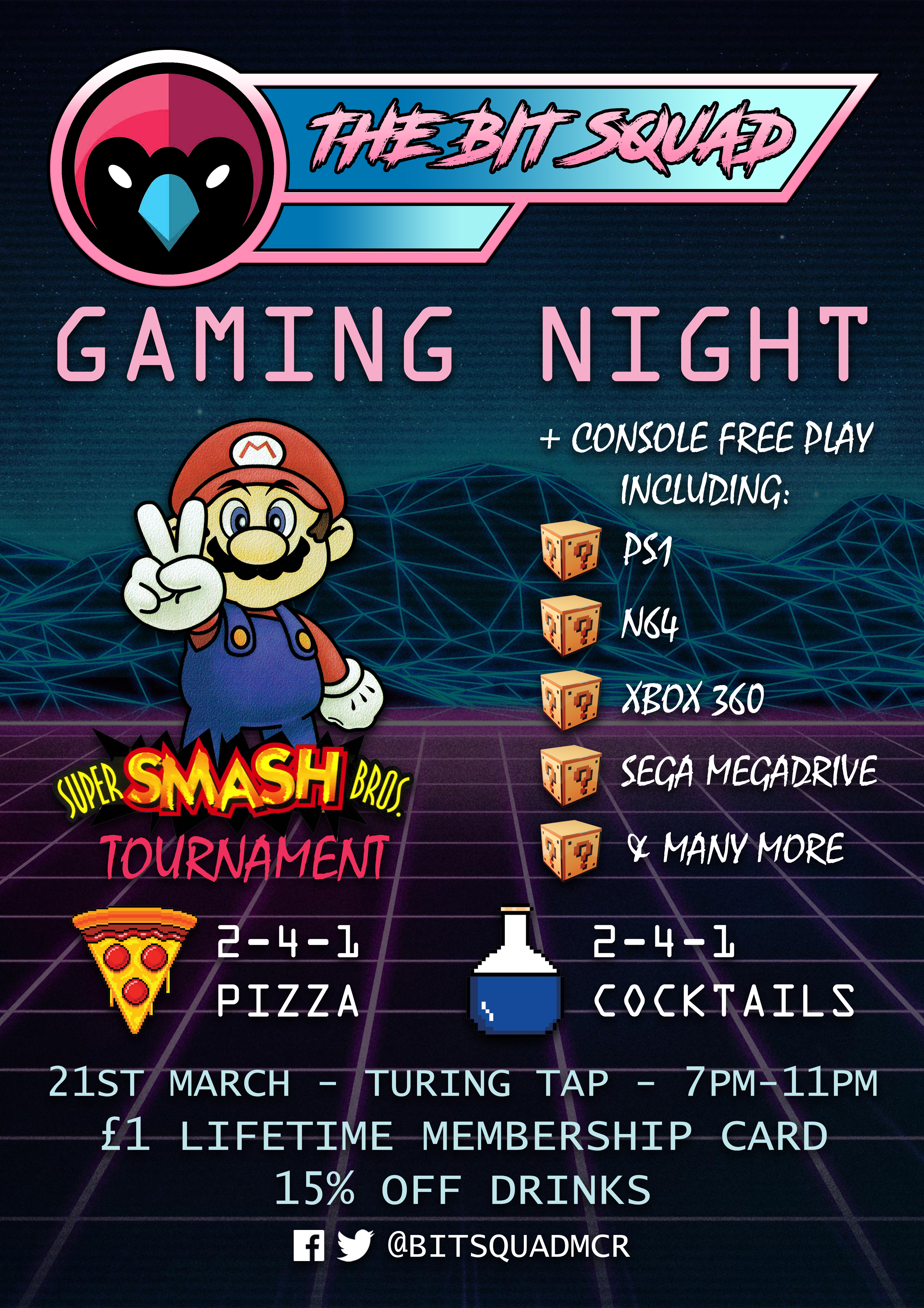The Bit Squad Gaming Night- Launch Poster - 21st March - Red Cardinal Music
