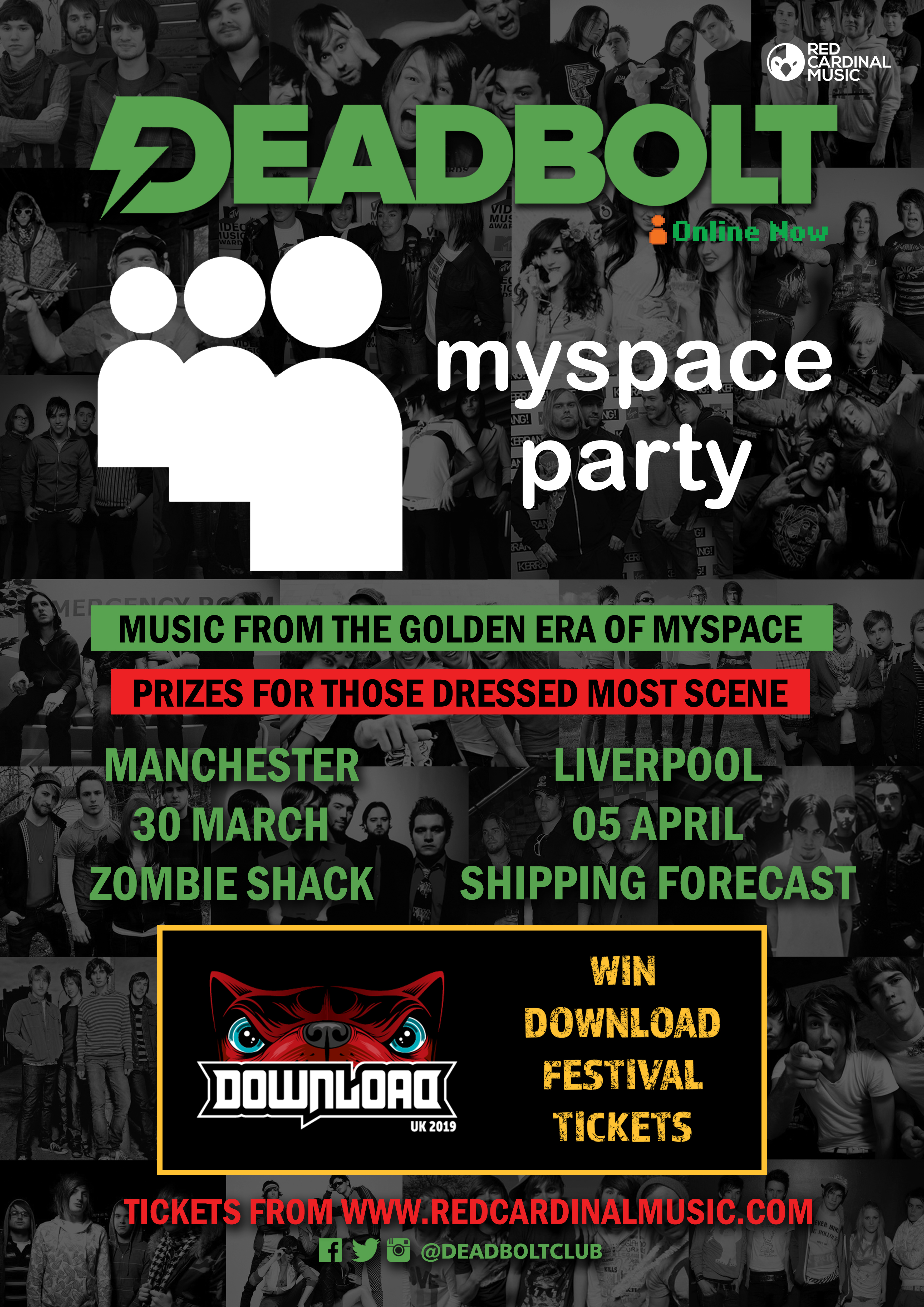 Deadbolt Myspace Party 2019 Manchester & Liverpool Poster - Red Cardinal Music
