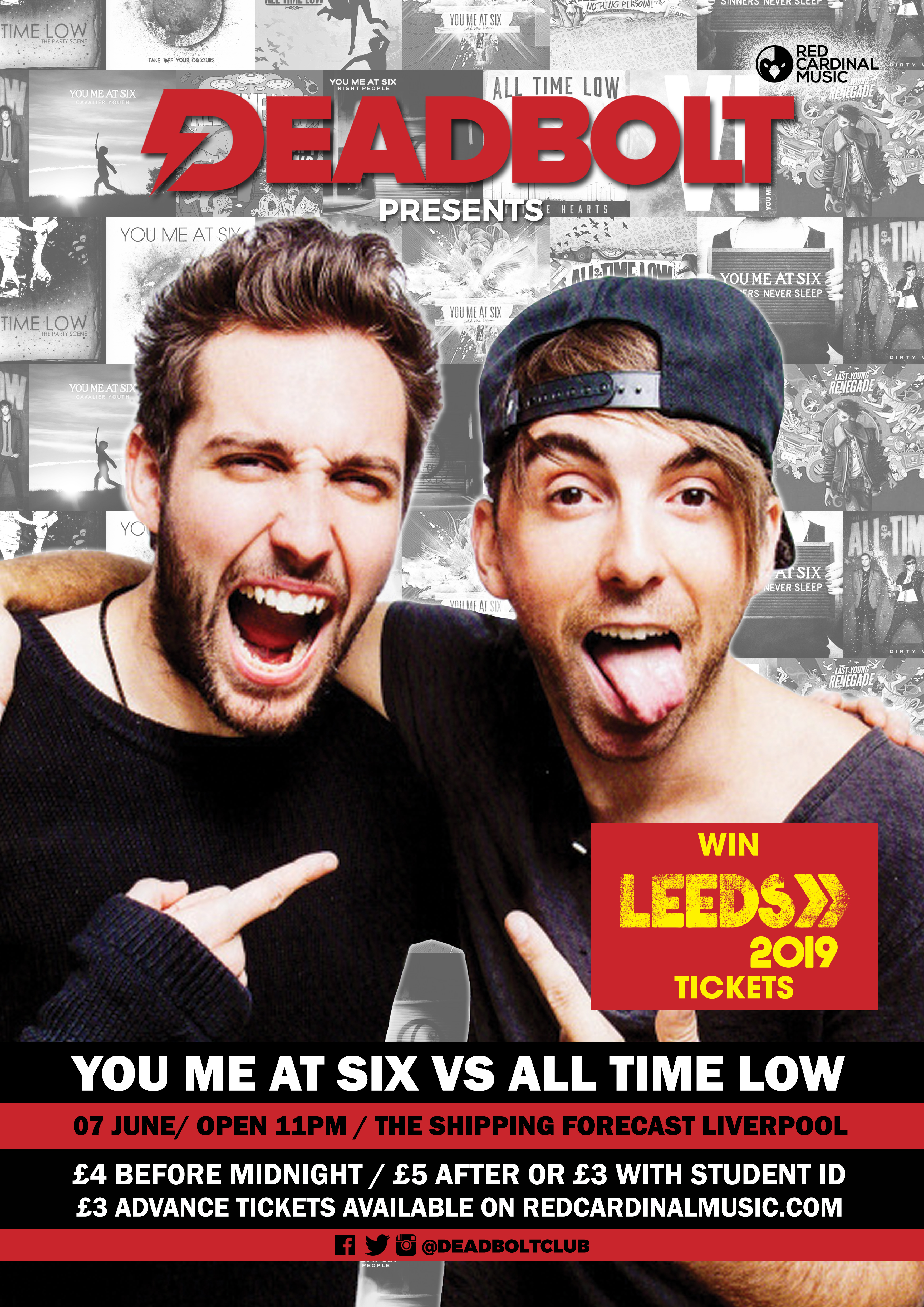 Deadbolt Liverpool - You Me A Six vs All Time Low - The Shipping Forecast Liverpool - Win Leeds Festival Tickets - 07 Jun 19 - Red Cardinal Music