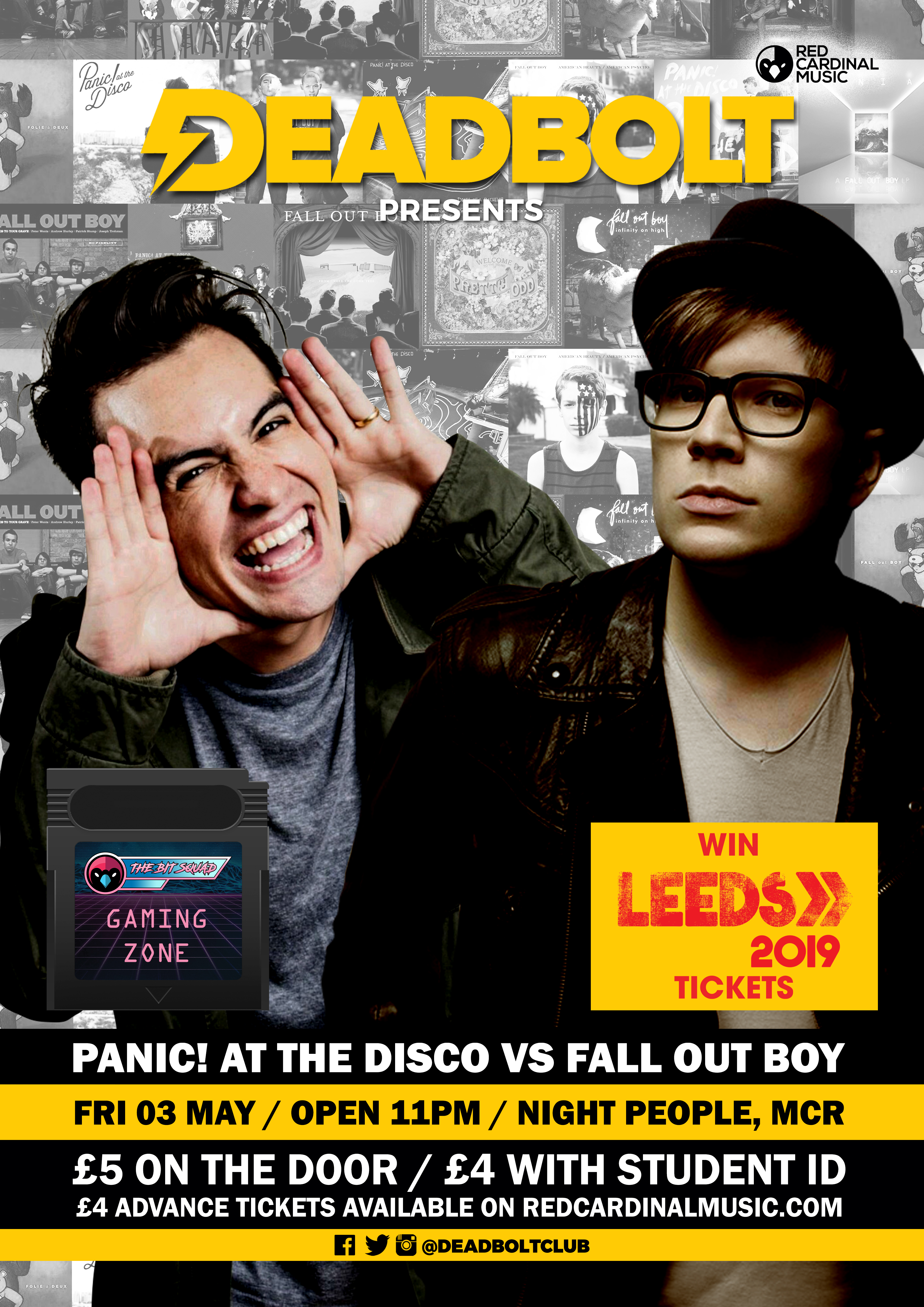 Deadbolt Manchester - Panic! At The Disco Vs Fall Out Boy Special - Night People Manchester - Red Cardinal Music