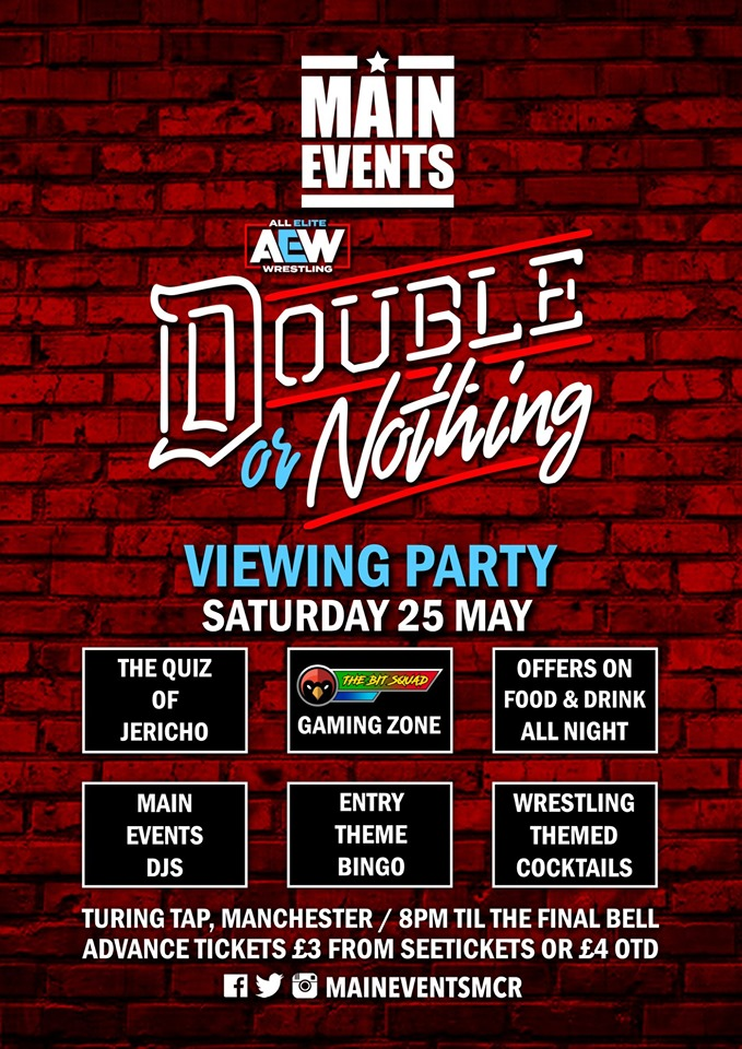 Main Events - AEW Double Or Nothing May 2019 Viewing Party - Turing Tap - Red Cardinal Music