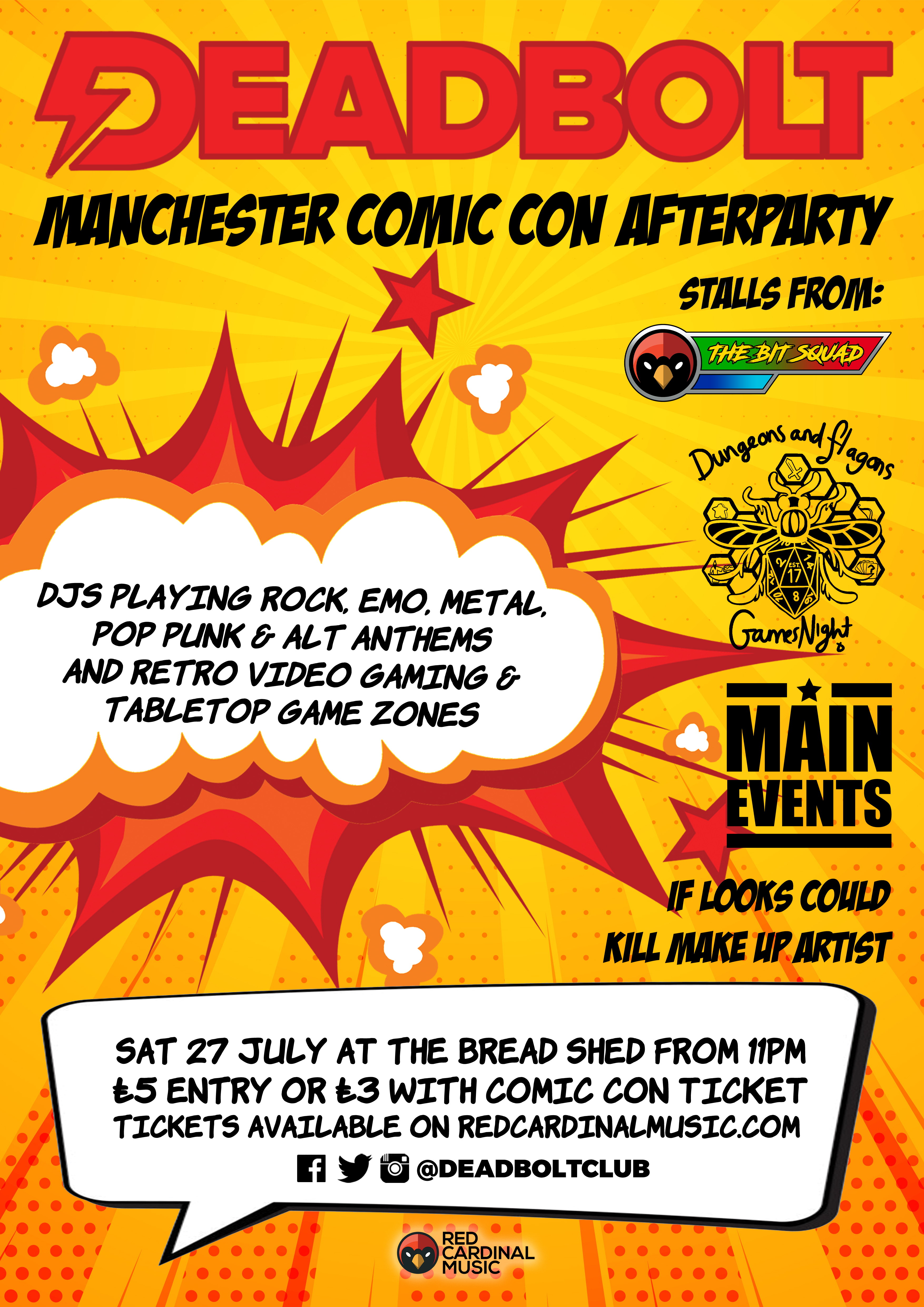 Deadbolt Manchester Comic Con Afterparty 2019 Poster - The Bread Shed - Red Cardinal Music