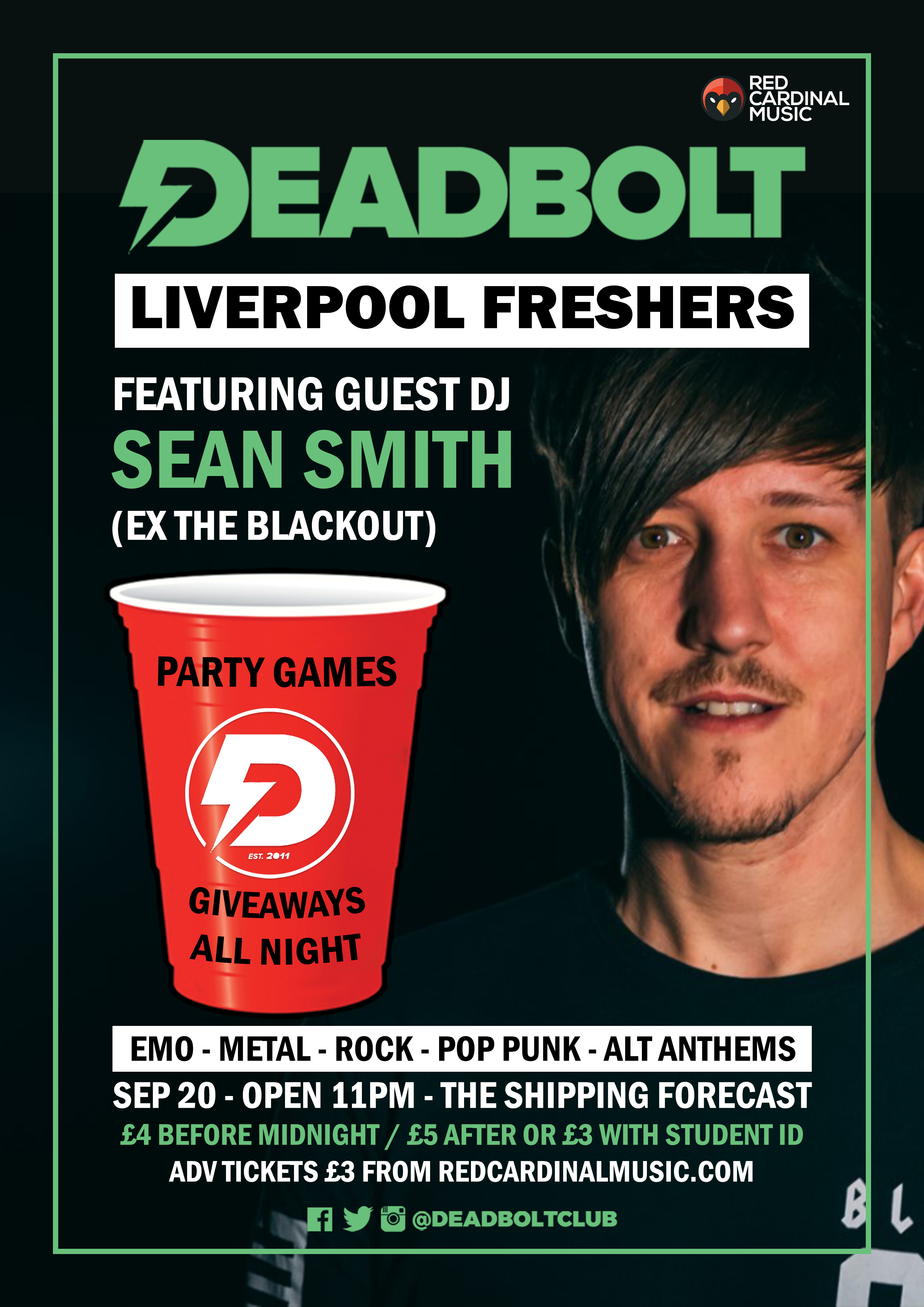 Deadbolt Liverpool Freshers Party 2019 with Sean Smith - Poster - Red Cardinal Music