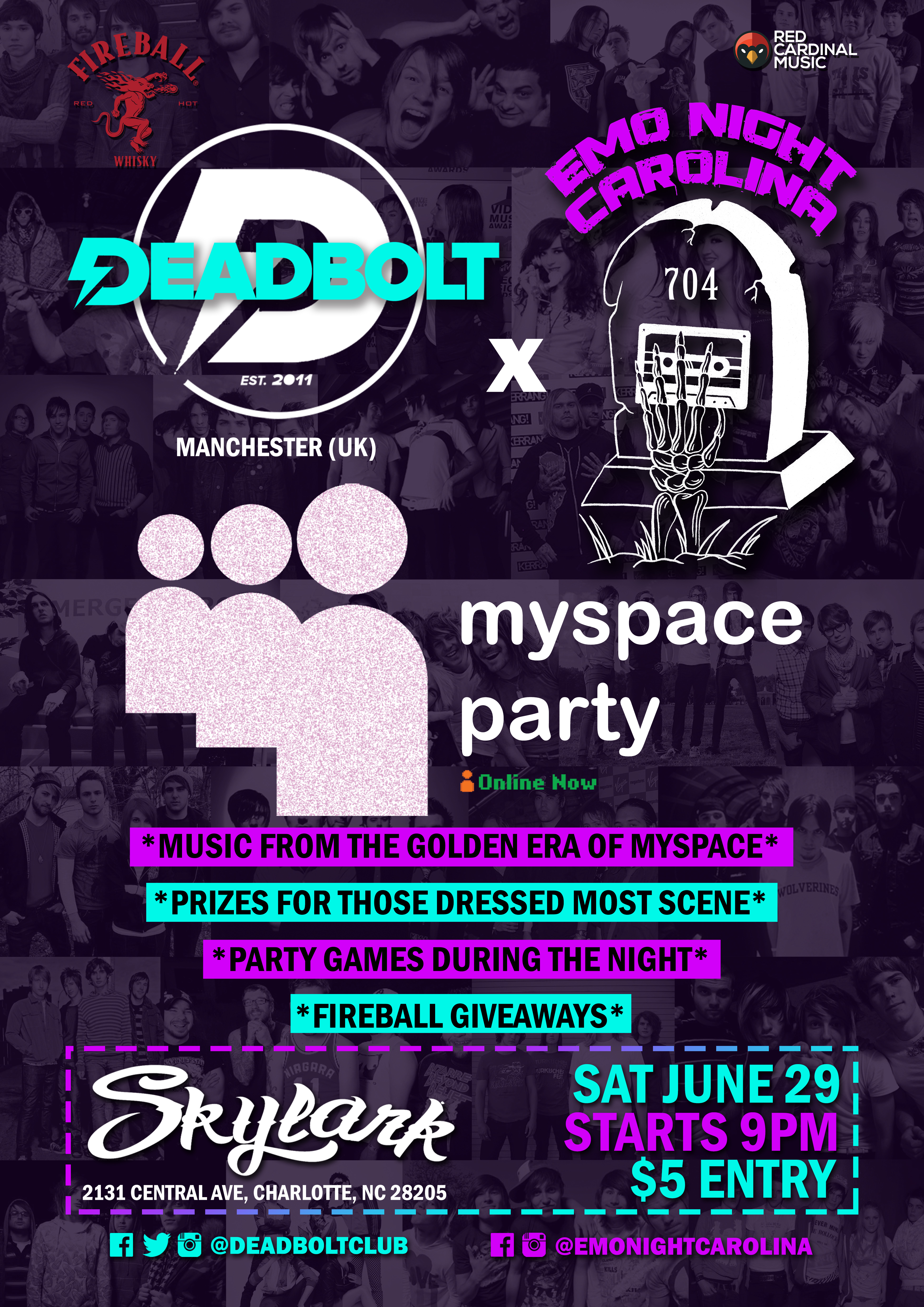 Deadbolt x Emo Night Carolina - Myspace Party 2019 - Charlotte North Carolina - Red Cardinal Music