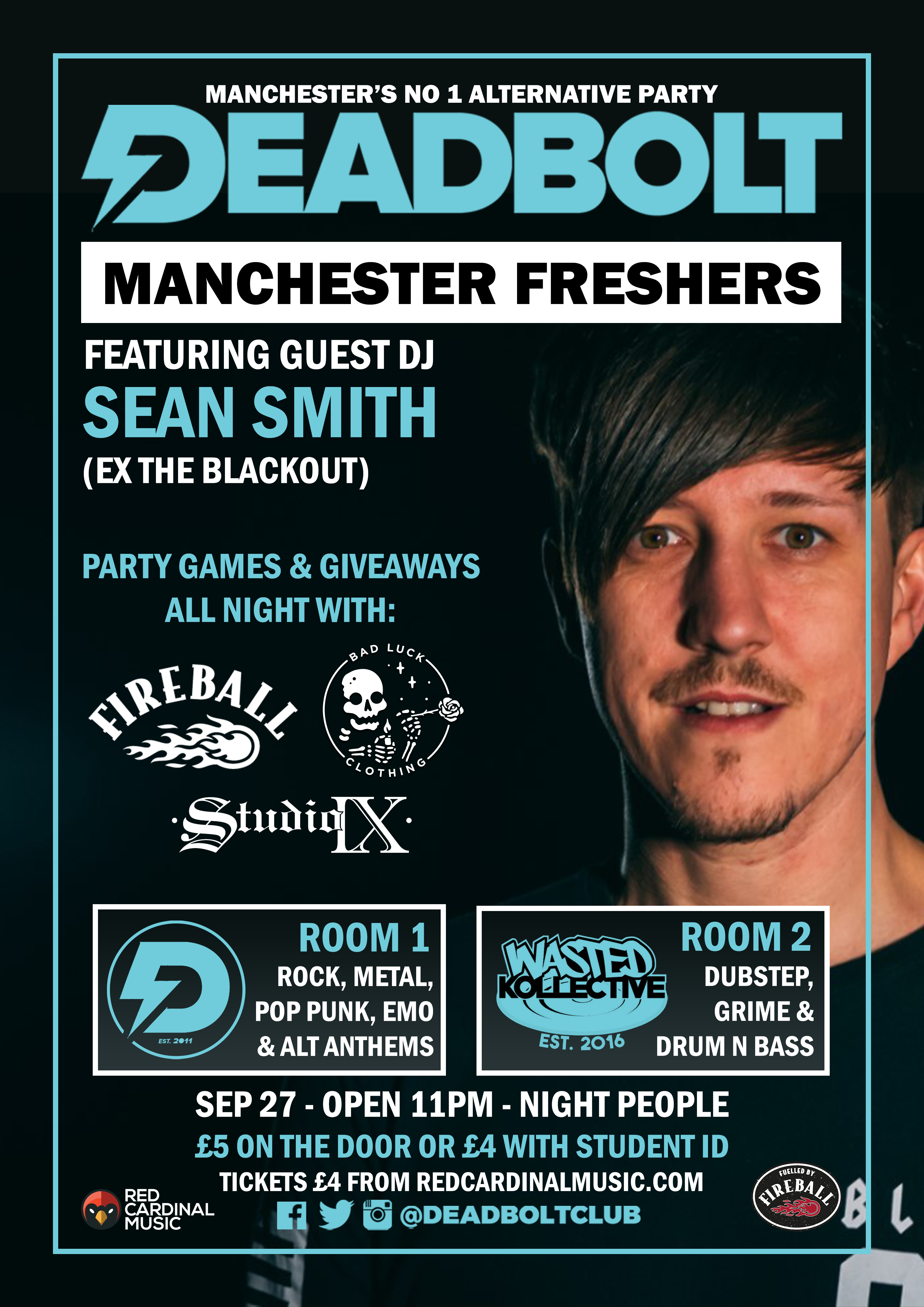 Deadbolt Manchester Alternative Freshers 2019 with Sean Smith & Wasted Kollective - Poster - Red Cardinal Music