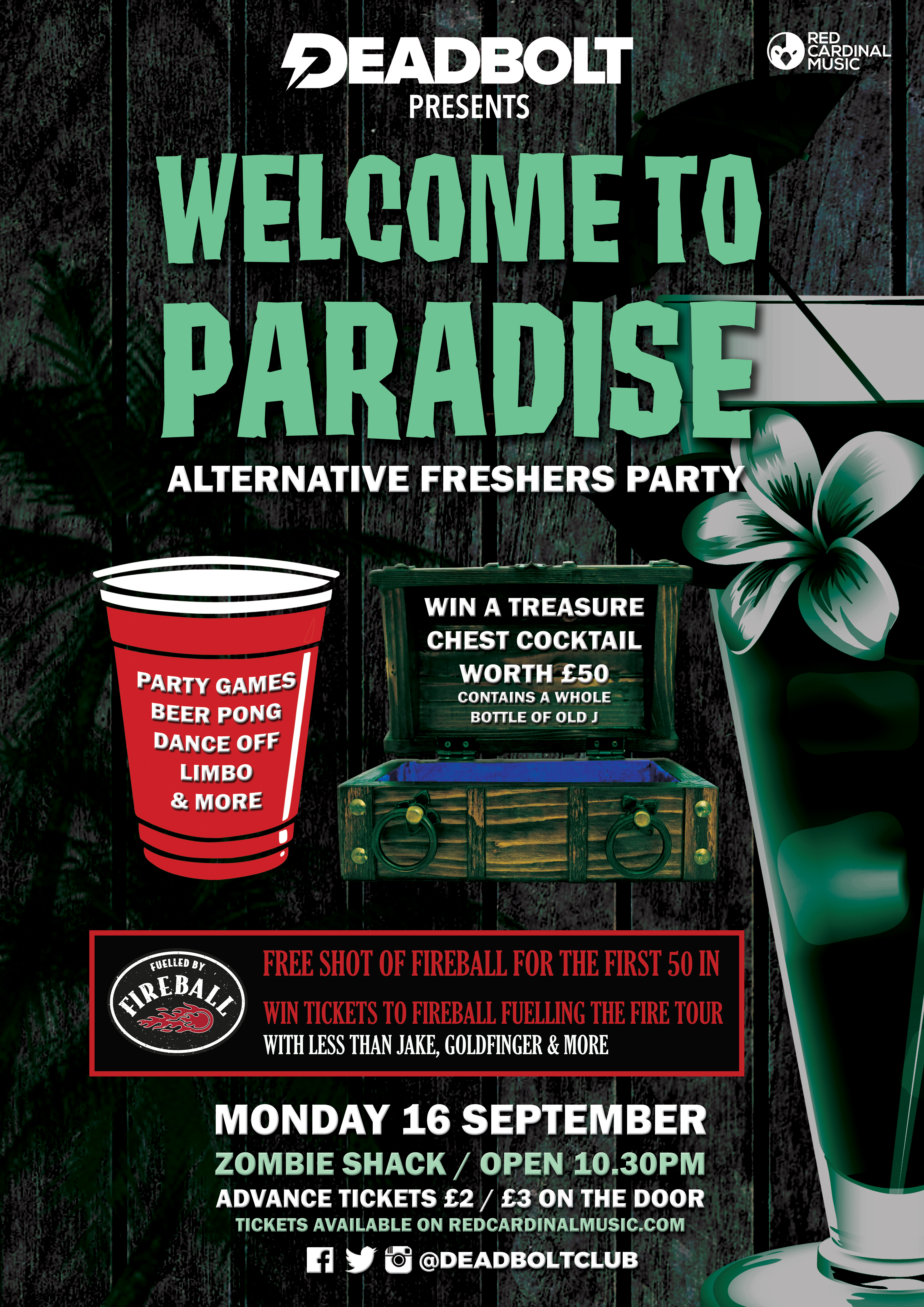 Deadbolt Welcome To Paradise - Freshers 2019 Alternative Freshers Party - Red Cardinal Music
