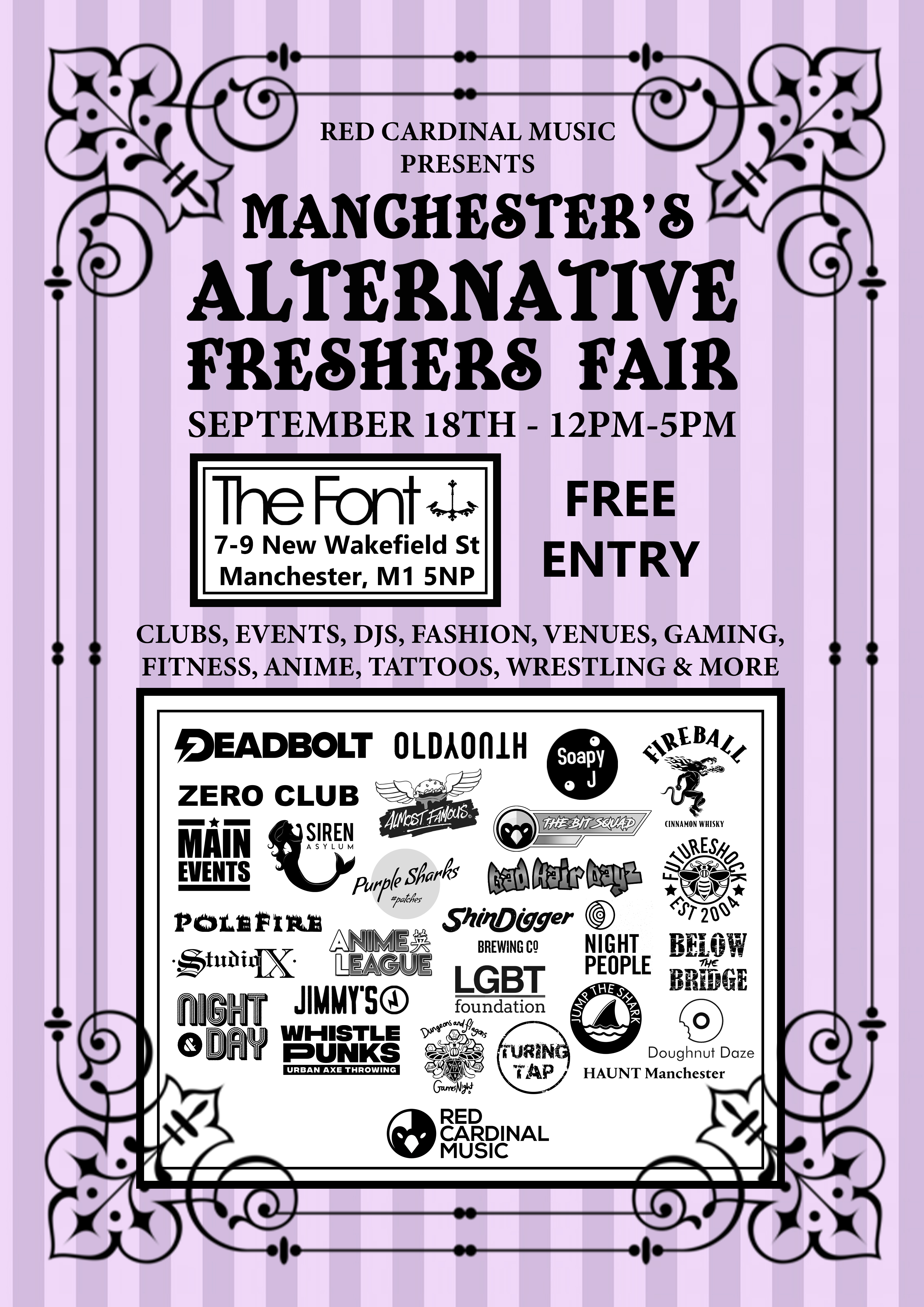 Red Cardinal Music Freshers Fair 2019 - Font Manchester - RGB For Web