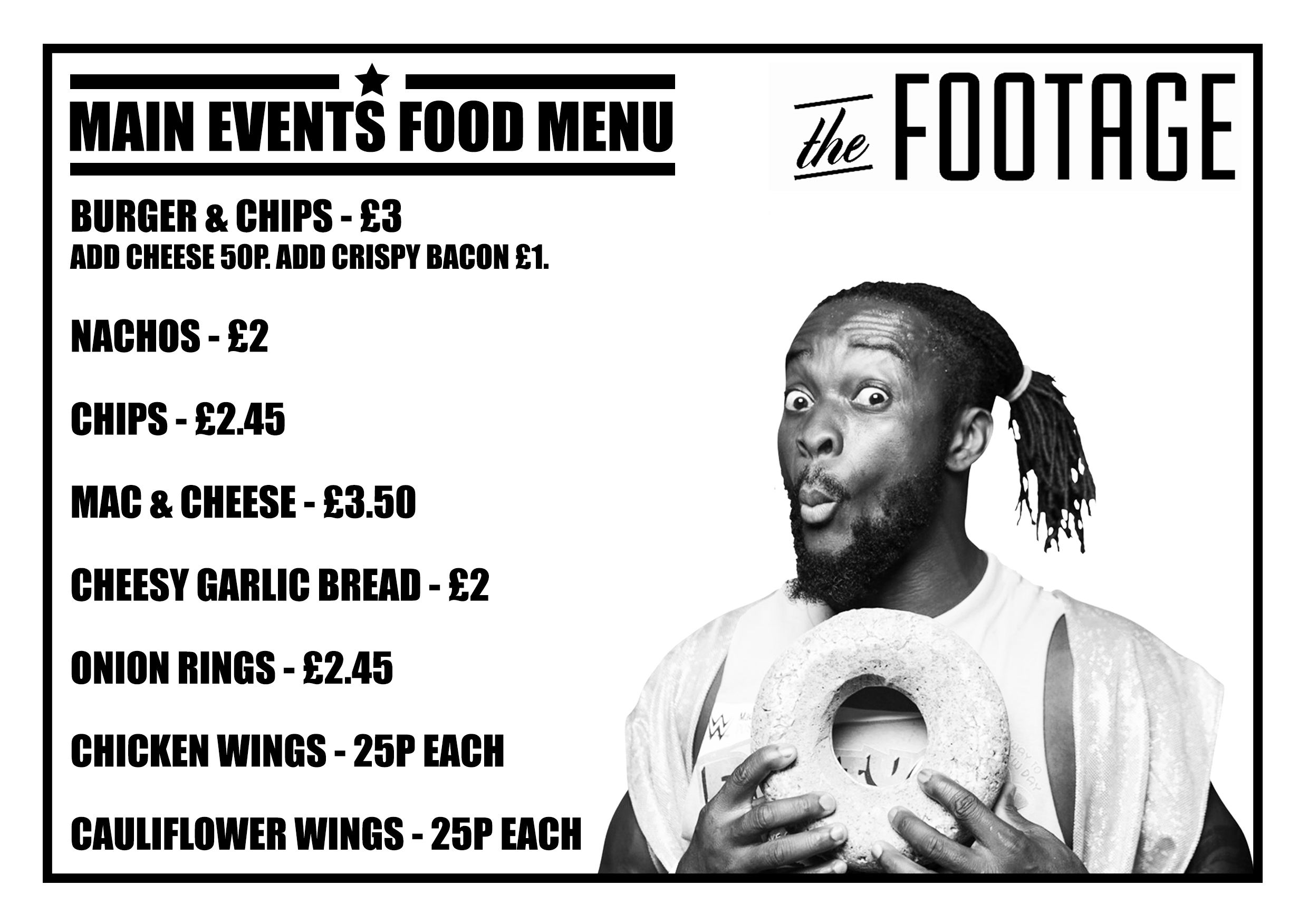 Main Events Wrestling PPV Footage Food Menu
