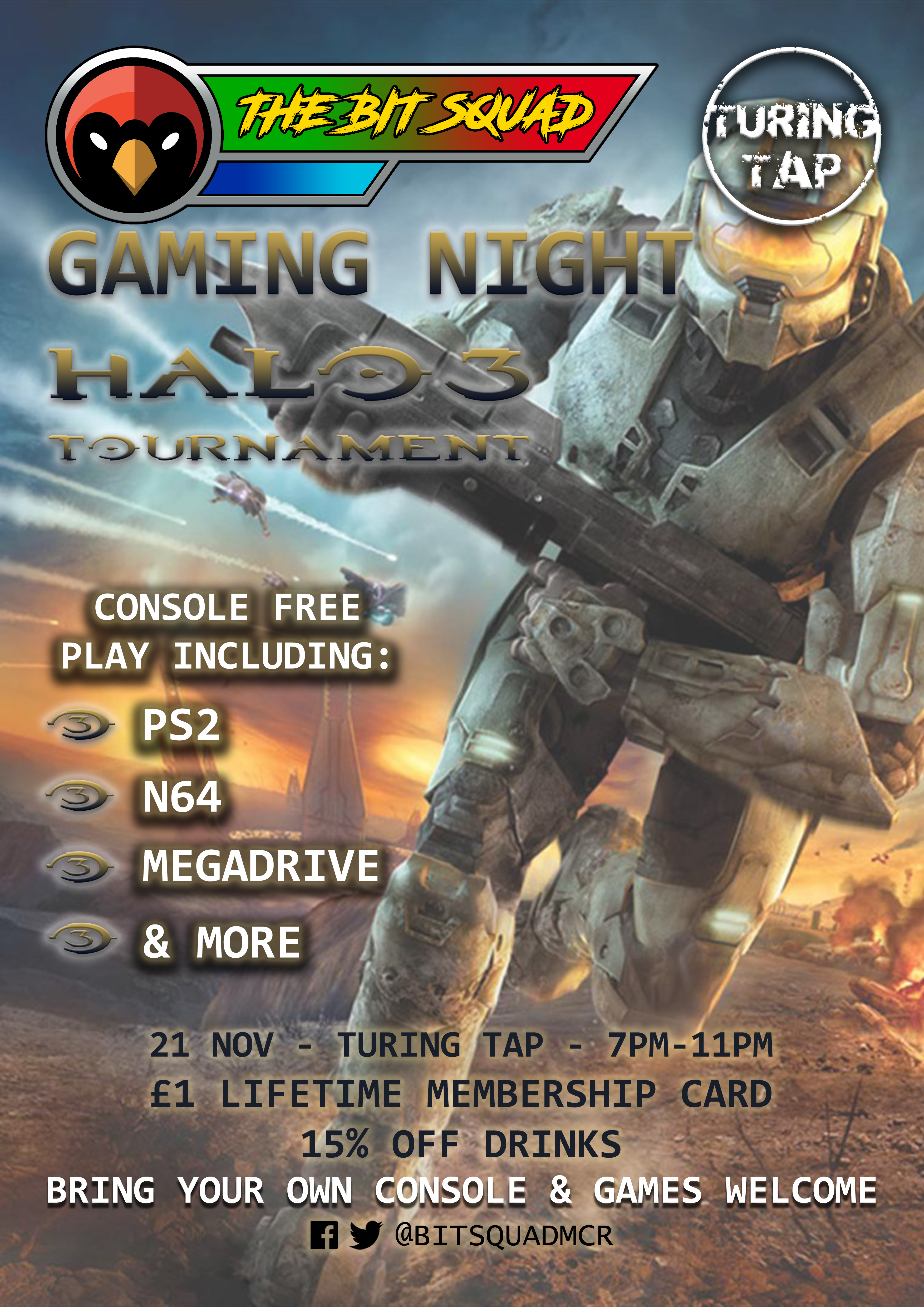 The Bit Squad - Manchester Gaming Night - Turing Tap - 21 Nov 19 - Halo 3 Poster - Red Cardinal Music