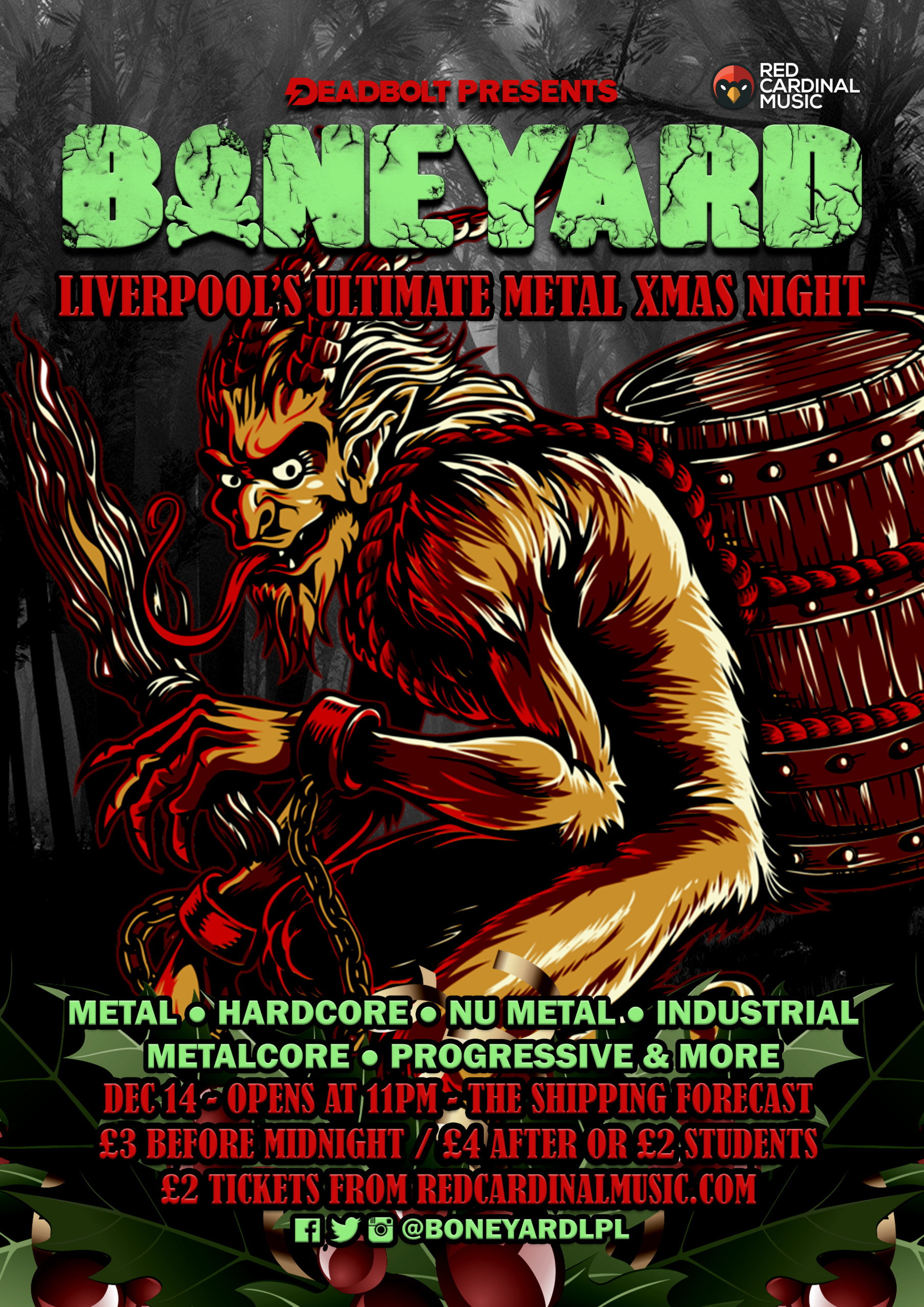 Boneyard Christmas Metal Night - Shipping Forecast Liverpool - Dec 19 - Poster - Red Cardinal Music