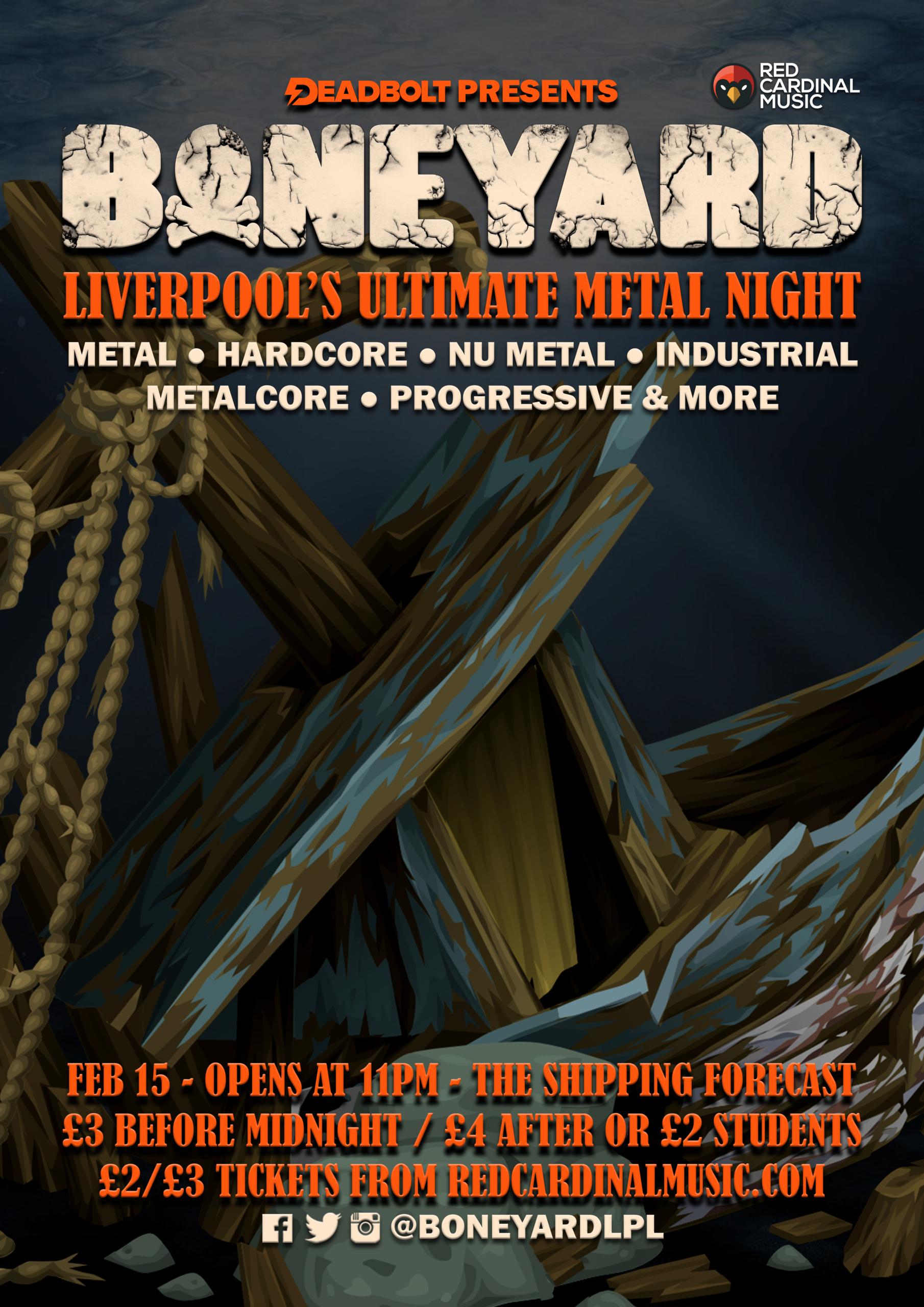 Boneyard - Metal Night - Shipping Forecast Liverpool - Feb 20 - Poster - Red Cardinal Music