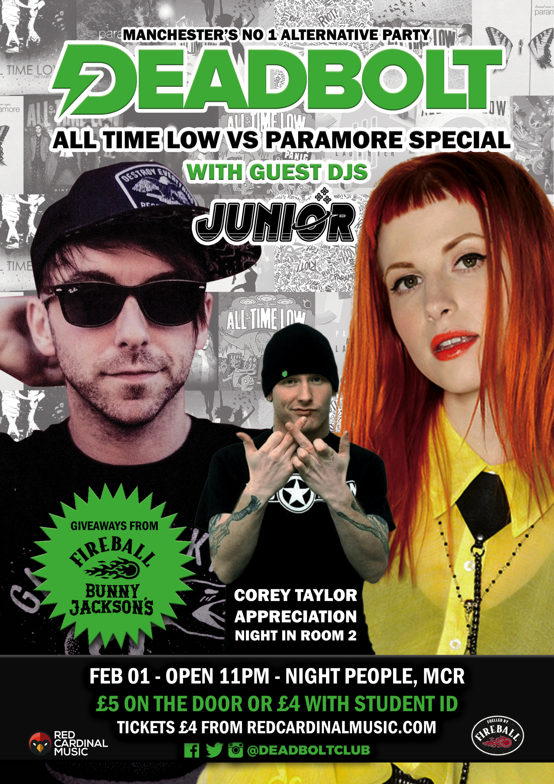 Deadbolt Manchester - All Time Low vs Paramore ft Junior - Feb 20 - Poster - Red Cardinal Music