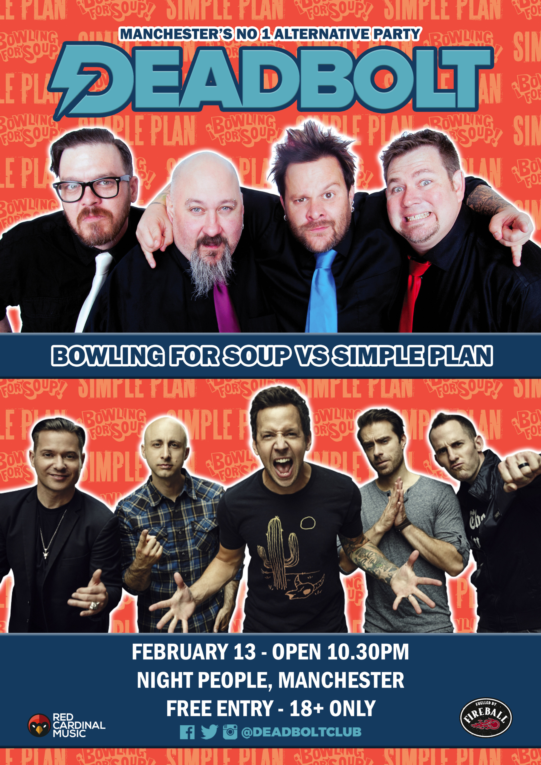 Deadbolt Manchester - Bowling For Soup vs Simple Plan - Feb 20 - Poster - Red Cardinal Music